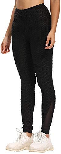 HHYSPA Women's High Waist Yoga Pants, Breathable Hip Lifting Exercise Bubble Pants, High Waist Tummy Control Fitness Running Yoga Athletic Trousers (S,Black)