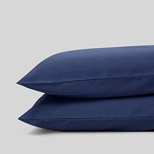 Fabdreams Standard-Kissenbezug-Set, 100 prozent Bio-Baumwolle, Queen-Kissenbezug-Set, dunkelblau, 50,8 x 76,2 cm, Satin-Gewebe, Fadenzahl 400, GOTS-zertifiziert, weich, seidig glänzend, luxuriös, nachhaltig