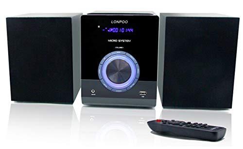 Sistema Micro Audio Domestico CD Mini Impianto Stereo Hi-Fi 30W con Bluetooth, USB, radio FM, MP3, CD-R / CD-RW, telecomando, Lettore CD Design Stereo Compatti (LP-886)