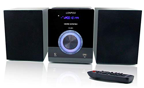 Sistema Micro Audio Domestico CD Mini Impianto Stereo Hi-Fi 30W con Bluetooth, USB, radio FM, MP3, CD-R / CD-RW, telecomando, Lettore CD Design Stereo Compatti (LP-886)