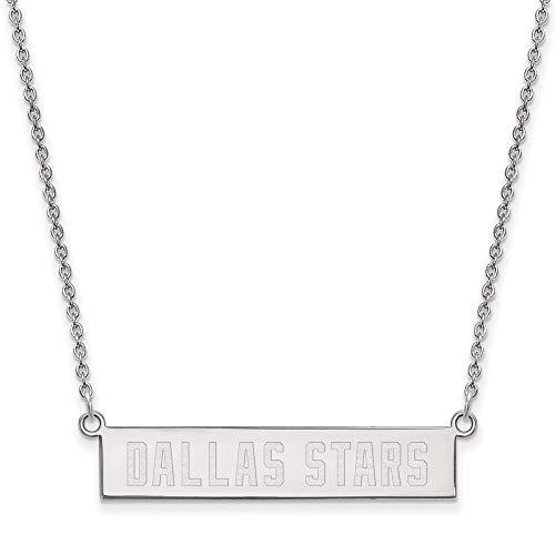 LogoArt Sterling Silver NHL Dallas Stars SM Bar Necklace, 18 In
