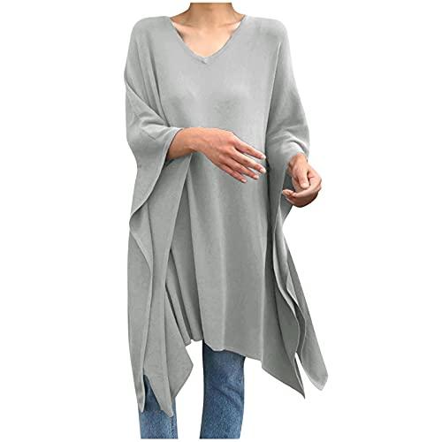 Blusa Suelta Irregular de Color Sólido para Mujer Camisa Larga Transpirable con Mangas de Murciélago y Talla Grande