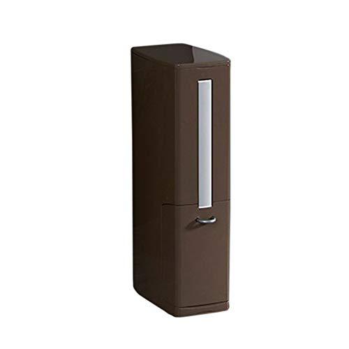 raspbery WC-Bürste und Behälter, Mülleimer Klobürste Tiefenreinigungsbürsten Set, ABS Schmale Art Multifunktions Platz Aufbewahrungsbox Badezimmer Versorgungsmaterialien (1 Pack) - braun