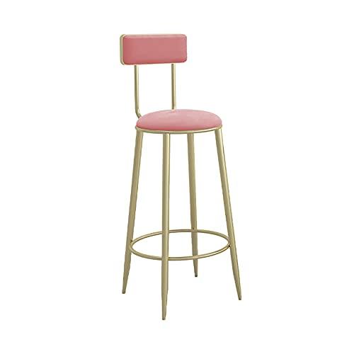 Taburete de Bar tapizado a la Altura del mostrador, sillas de Bar con Respaldo y reposapiés, taburetes de Bar para Cocina/Bar en casa/Pub/Comedor, Asiento tapizado de Terciopelo, Patas de Meta