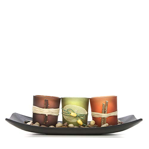 Hosley Natural Farm-House Candle-Scape Set of 3 Decorative Candle Holders Rocks and Tray 10 Inch Long. Ideal Gift for Wedding Party Spa Aromatherapy LED Tea Light Votive Candle Gardens O5