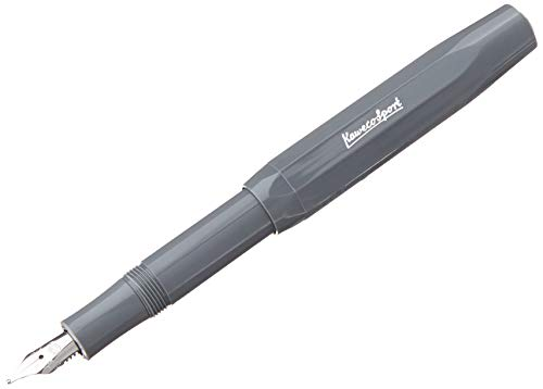 Kaweco Füllfederhalter Skyline Sport I Premium Füllfederhalter Luxus für Tintenpatronen mit hochwertiger Stahlfeder I Kaweco Sport Füller 13,5 cm Grau Federbreite: BB (Extra Breit)