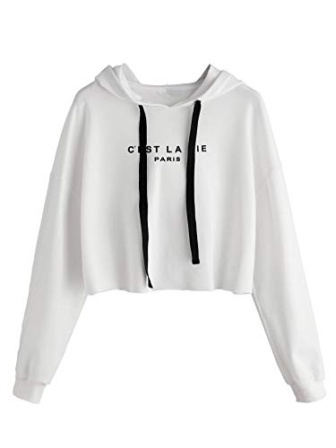 Romwe Women's Letter Print Sweatshirt Raw Hem Drawstring Crop Top Hoodie White S