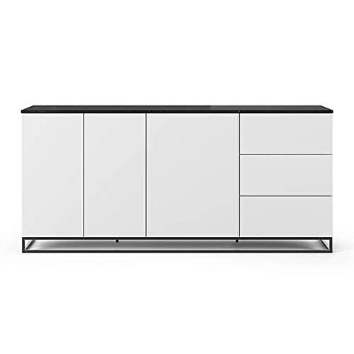 Buffets Design et élégants, Collection Join, signée TEMAHOME. - Join 200H1, piétement Acier Noir, Blanc Mat, Plateau en marbre