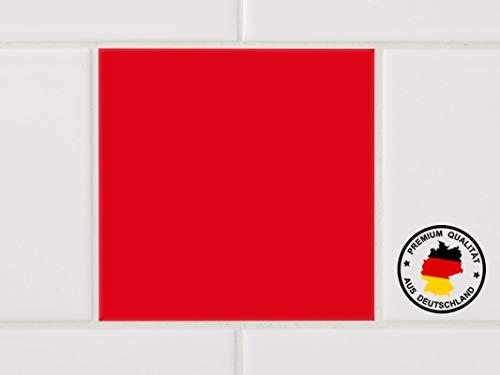 GRAZDesign Fliesenaufkleber für Bad und Küche einfarbig - Fliesensticker 10 Stück - Fliesenfolie für Wandfliesen / 10x10cm in Rot