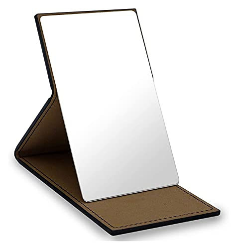 Mirror Compact Mirror,Unbreakable Stainless Steel Folding Small Travel Mirror,With PU Leather Case,Suitable For Makeup,Camping,Travel(black) (Color : Black)