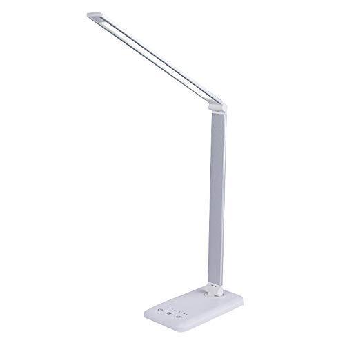 Lámpara de escritorio LED, lámparas de mesa con cargador inalámbrico, luz ajustable 3000-5500K, temporizador automático de 30/60 min, control táctil inteligente, lámpara plegable y para el cuidado de