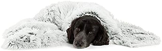 Best Friends by Sheri Luxury Shag Dog & Cat Throw Blanket 40x50, Frost, Matching Donut Shag Cuddler Bed, Multi-Use, Mat, Sofa Cover, Warming