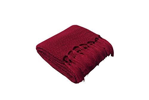 Amosiwallart Manta - Muchos tamaños y Colores Diferentes - Manta de Microfibra Manta para Sala de Estar Manta para Cama - Fibra Polar de Microfibra de Franela -Burdeos_El 130 * 160cm