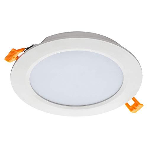 SEBSON Foco LED Empotrable Techo redondo plano 6W 230V 360lm Blanco Cálido 3000K, Driver incluido, Downlight LED Panel Ø118x24mm