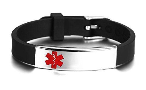 Best Price! JF.JEWELRY Medical Alert ID/Allergy Bracelet for Kids Silicone Band & Stainless Steel Ta...