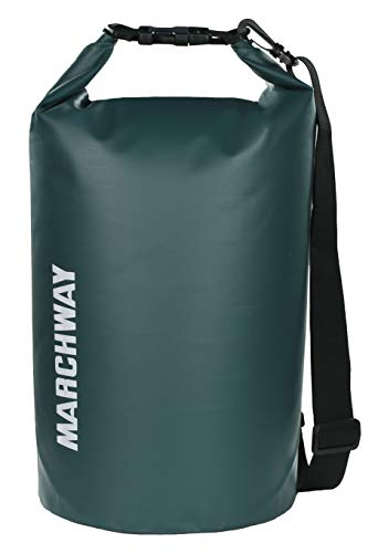 MARCHWAY Floating Waterproof Dry Bag 5L/10L/20L/30L, Roll Top Sack Keeps Gear Dry for Kayaking, Rafting, Boating, Swimming, Camping, Hiking, Beach, Fishing, Hunting (Blackish Green, 10L)