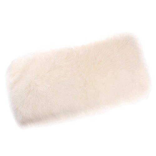 F Fityle Tischläufer Fell Tischband Tischdecke Kunstfell Bettvorleger Sitzauflage Teppich Matte - Weiß