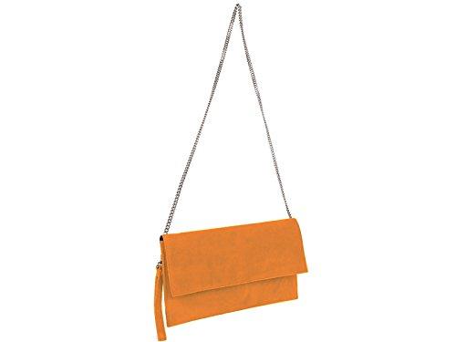 scarlet bag | Clutch Tasche Unterarmtasche Abendtasche Umhängetasche aus echtem Wildleder | Damen Handtasche; 31 x 17 x 1 cm (Orange)