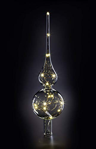Krinner Lumix Lumix LUMIX Tree Topper - Puntale per albero di Natale in vetro soffiato a bocca, 28 LED, 0,014 W, trasparente