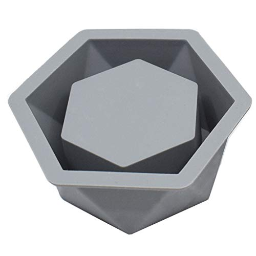 LIBRAGOLD Silicone Flower Planter Mold for Concrete Succulent Pot, Candle Container DIY, Hexagon