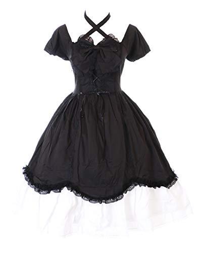 Kawaii-Story JL-624-8 Schwarz Schleife Rüschen Gothic Lolita Kurzarm Kleid Kostüm Cosplay (S-M)