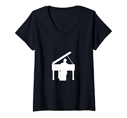 Damen Klavier Flügel Piano Pianist Geschenk T-Shirt mit V-Ausschnitt