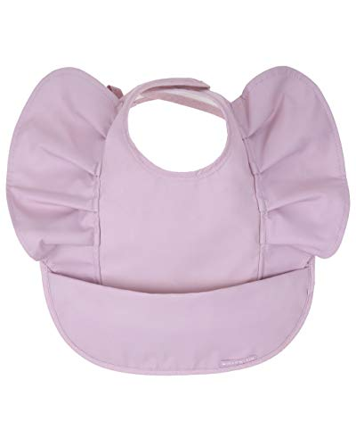 Waterproof Baby Bib for Baby Girl - Better Than Silicone, Wipe Clean and Washable - Toddler Bibs with Food Catcher, Ideal Feeding bib for Babies and Infants - No Sleeve - Keepsake Lilac