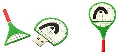 PenDrive Disco U USB Flash Drive USB2.0 Dibujos Animados CLORURO DE POLIVINILO Raqueta De Tenis Memoria USB 4 A 64 GB Creativo Artículos Deportivos (32GB,Verde)