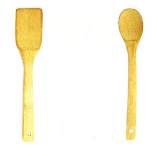 V-VAPE 2 Pcs Set Wooden spoon Spatula bamboo utensils cooking kitchen tool set