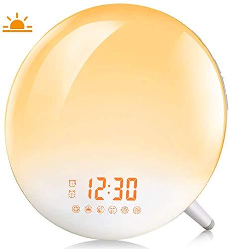 PBQWER Sunrise Alarm Clock, Wake Up Light with FM Radio/Dual Alarm/7 Nature Sounds & Light Colors/Snooze/20 Brightness, Sleep Aid Lamp Dawn Simulator for Heavy Sleepers/Kids/Teen Girls Boys Bedrooms