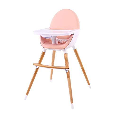 SOAR Seggiolone Pappa Bambino Dining Chair Bambini Multi-Purpose Mangiare Presidente, a duplice Uso Sedia del Bambino di Legno Solido Sgabello Portatile Comfort Sicurezza High And Low (Color : Pink)