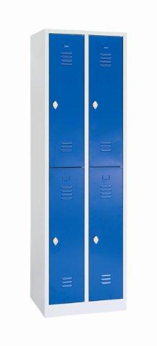 Schließfachschrank Wertfachschrank Fächerschrank Spind Umkleideschrank 4 Fächer-Spint 520221 blau Maße:1800 x 600 x 500 mm (Höhe x Breite x Tiefe) kompl. montiert und verschweißt