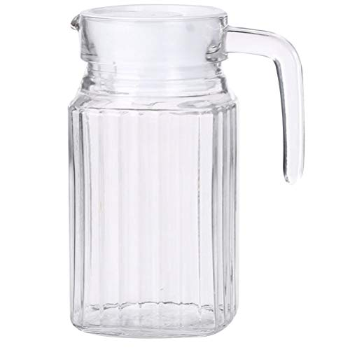 PIXNOR Jarra de Agua de Vidrio Jarra de Jugo con Tapa Que Sirve Jarra de Té de Jarra de Agua Fría para Jugo de Agua Cóctel de Santería Bebida 0. 5L