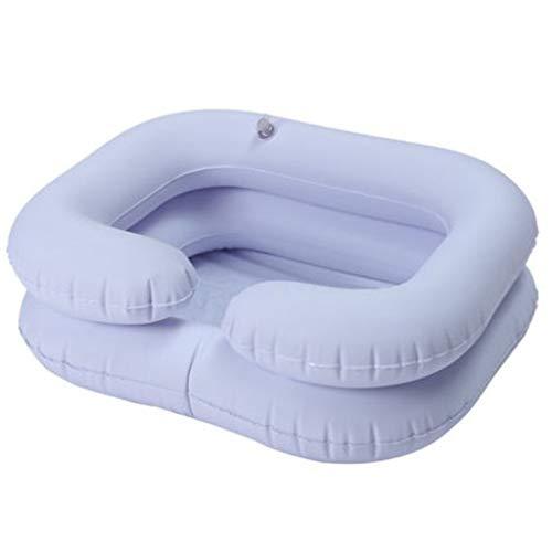 Aufblasbares Shampoo Becken für Behinderte Ältere Tragbare Haarwaschbecken Abflussrohr Bettruhe Pflegehilfe Spüle inkl. Luftpumpe