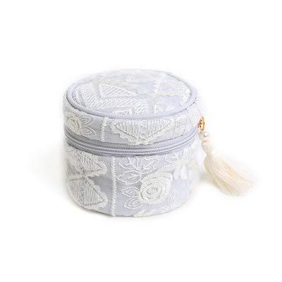 wanhe Caja de joyería portátil multifunción Bolsa cordón cordón de Encaje Flor Bordado Borla Mini Caja de Almacenamiento Encantador Princesa Exquisito Estilo Pendientes, Anillo, Joyas