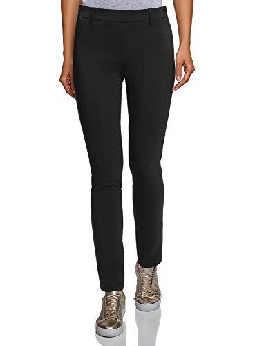 oodji Ultra Mujer Pantalones Ajustados con Cintura Elástica, Negro, DE 38 / EU 40 / M