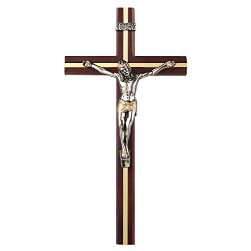 KUXBET Kruzifix Wandkreuz katholisches Holz Jesus Christus Wandbehang Kreuz für Home Wall Decor, 25,4 x 13,2 cm