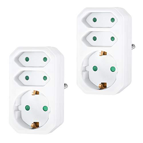 benon 2X Mehrfachstecker Weiß - Steckdosen-Adapter mit Kindersicherung - Doppelstecker 3680W - 3-Fach Multistecker - 2X Euro- und 1x Schuko - Mehrfachsteckdose