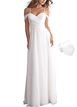 Dresspic Women s Simple Beach Wedding Dresses for Bride 2021 Long Pleated Chiffon Off The Shoulder Bridal Gown with Train White