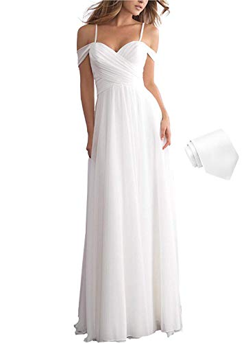 Women's Simple Beach Wedding Dresses for Bride 2020 Long Pleated Chiffon Off The Shoulder Bridal Gown with Train White