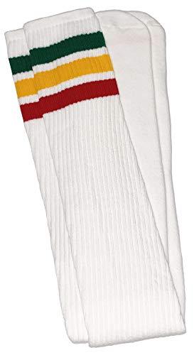 skatersocks 35 Inch Tube Socken Kniestrümpfe oldschool Sportsocken overknee weiß Streifen