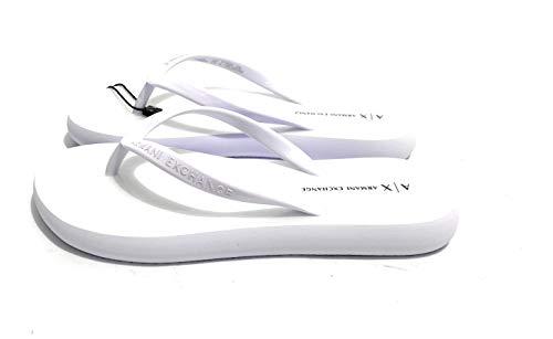 Armani Exchange Damen Flip Flop PVC+Eva Zehentrenner, Weiß (Op.White+Black Logo 00152), 35 EU