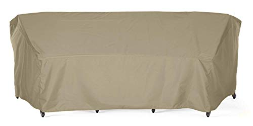 """SunPatio Outdoor Curved Sectional Sofa Cover, Heavy Duty Waterproof Couch Cover with Seam Taped, Fade Resistant Patio Furniture Cover, 120""""L(back)/82""""L(front) x 36""""W x 38""""H, Neutral Taupe"""