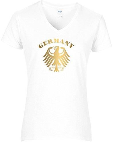 Damen WM Shirt Deutschland Fussball Bundesadler Germany Schriftzug Deutschland 2018, T-Shirt, Grösse S, Weiss