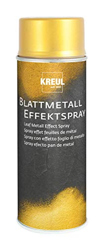 Kreul 994400 - Blattmetall Effekt-Spray, Gold, 400 ml, schnelltrocknender Nitro Kombilack mit Blattmetall ähnlicher Optik