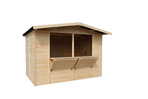 TIMBELA Verkaufskiosk aus Holz 232x336x263 cm