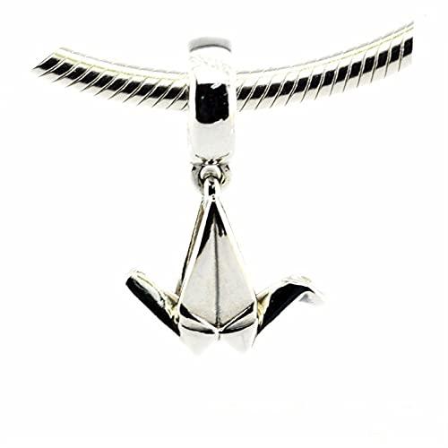 LISHOU DIY 925 Plata Esterlina Vintage Origami Crane Girls Lucky Wish Sign Charm Beads Fit Pandora Pulsera Collar para Mujeres Joyería Que Hace Regalo