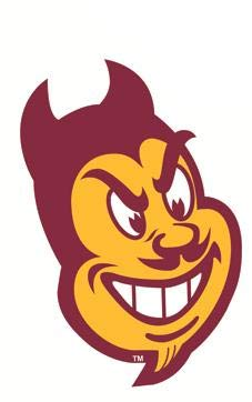 4 Inch Sparky The Sun Devil Decal ASU Trident Logo Pitchfork Arizona State University Devils AZ Removable Wall Sticker Art NCAA Home Room Decor 2 1/2 by 4 Inches