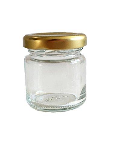 Set de 50vacías redondo–Tarros vasos 53ml Tapa Color Oro to 43tarros miel Caviar mermelada Conservas Conservas Mostaza, miel, vasos,, Mucha Conservas (Cristal, Set Vasos, Apicultor