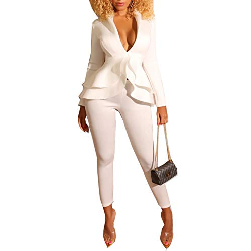 Sexy 2 Piece Pants Sets for Women- Long Sleeve V Neck Peplum Ruffle Raw Hem Pullover Tops Bodycon Long Pants Sets Jumpsuits White XL